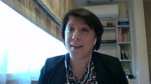 Iryna Bryzhak talking to particpants at DEVELOR webinar